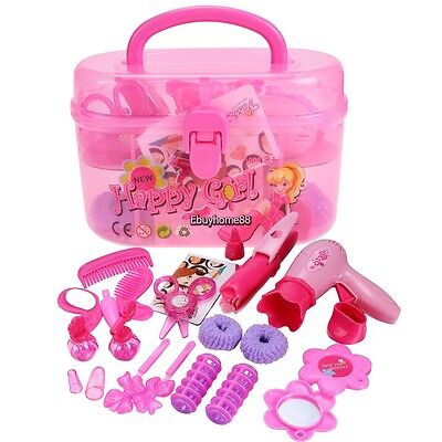 Hot Little Girls Fashion Beauty Makeup DIY Plastic Play Set Toy with Storage Box