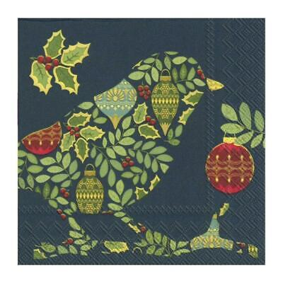Festive Bird Navy Paper Napkins Christmas Lunch Party Disposable Xmas Serviettes