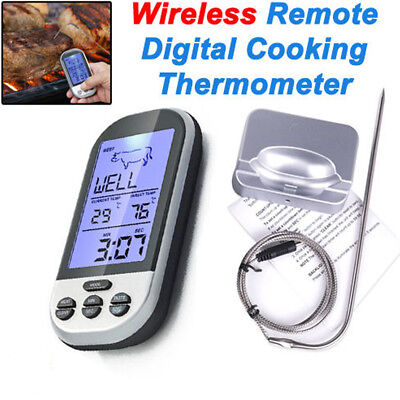 Digital Wireless Barbecue BBQ Meat Thermometer Remote Grill Cooking Food Probe
