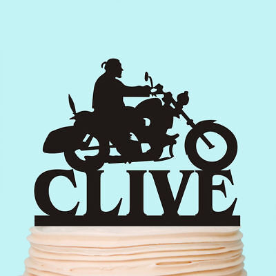 Motorcycle Bike Cake Toppers Happy Birthday Biker Custom Party Decorations](Motorcycle Birthday Decorations)