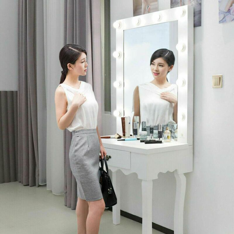 White Vanity Set with Led Lighted Mirror Drawer Women Makeup Dressing Table