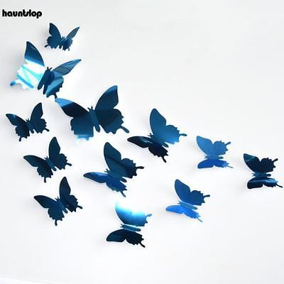 12PCS 3D Butterfly DIY Art Mirror Wall Stickers Home Decal Room Mural Xmas - Purple Room Decor