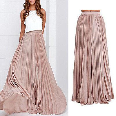 Women Summer Chiffon Pleated Retro Maxi Long Maxi Dress Elastic Waist Bust Skirt