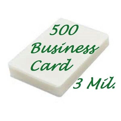 500 Business Card Laminating Sheets Pouches 3 Mil 2-14 X 3-34 Scotch Quality
