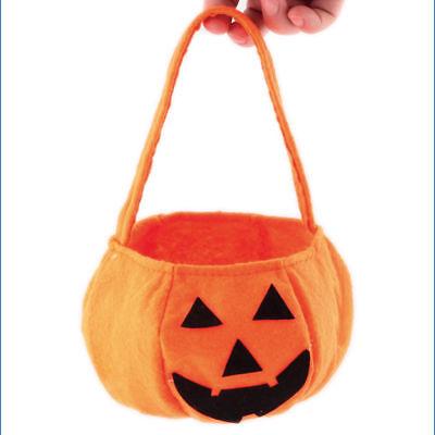 Smile Pumpkin Children Trick or Treat Candy Bag Halloween Decor Party Bucket fun - Kids Halloween Party Decorations