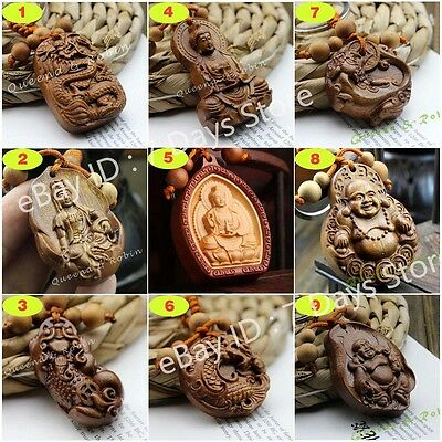 Chinese Wood Carving Feng Shui Buddha Kwan Yin Dragon Pixiu Pendant Key Chain](Buddha Keychain)