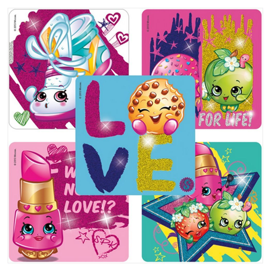 """20 Shopkins Glitter Stickers, 2.5""""x2.5"""" each, Party Favors"""