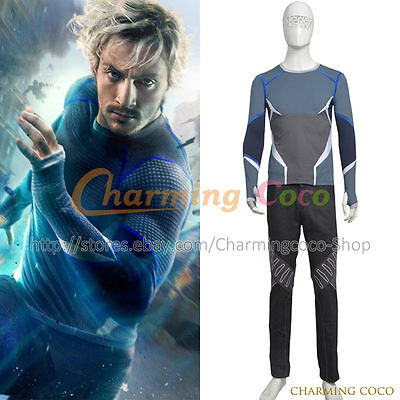 Avengers Quicksilver Costume (The Avengers 2: Age Of Ultron Quicksilver Cosplay Costume Halloween Fancy)