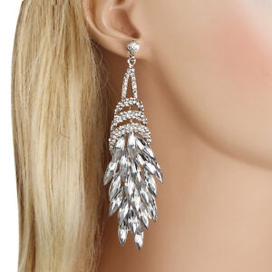 Hot-Wedding-Flower-Bouquet-Clear-Austrian-Crystal-Dangle-Statement-Earrings