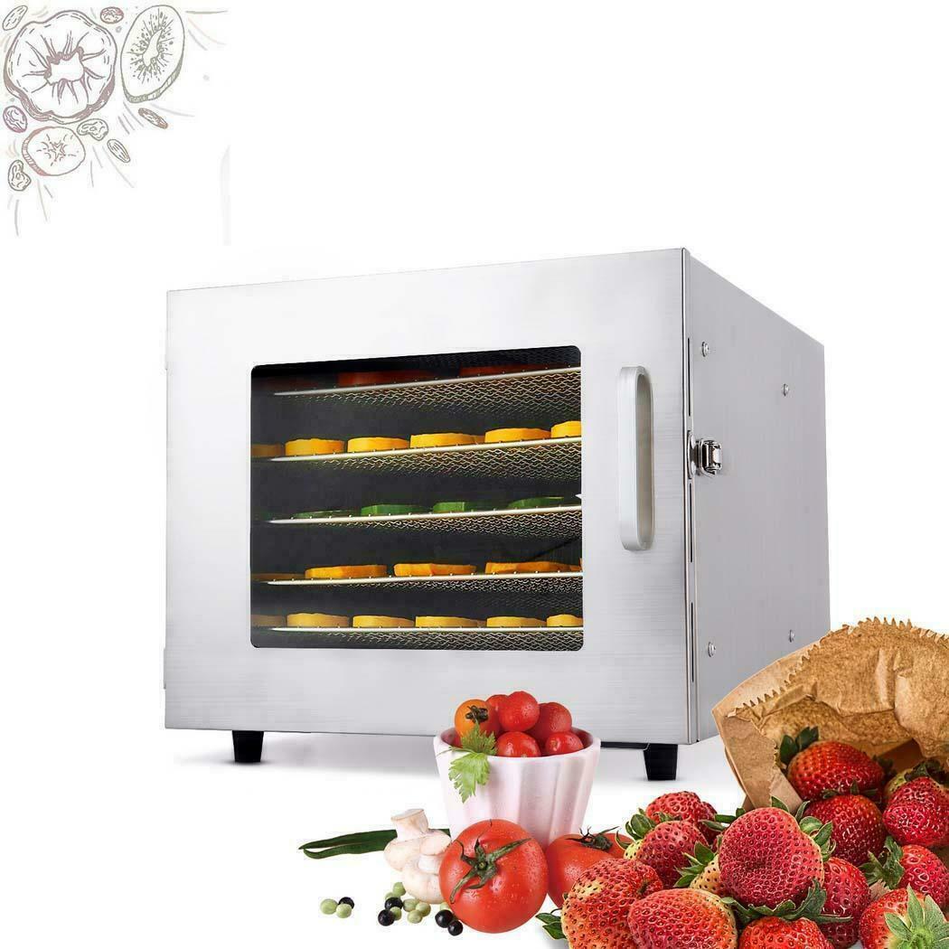 6 Tray Food Dehydrator Machine Stainless Steel Racks Healthy