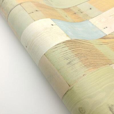 Decorative Self-Adhesive Film Vintage Colorful Wood Panel Pattern Wallpaper