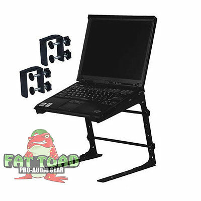 DJ Laptop Computer Stand - Mobile Disc Jockey PC Table Rack Mount Clamp Bracket