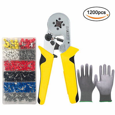 Crimper Plier Kit Self-adjustable Crimping Tools 1200 Terminal Ferrules Awg23-7