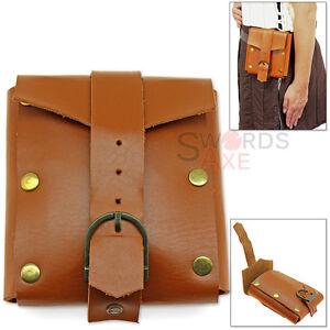Adventurers Medieval Leather Belt Pouch Large Renaissance Bag w Buckle 7oz Thick
