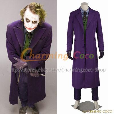 Batman The Joker The Dark Knight Cosplay Costume Halloween Uniform Men Trench  (The Joker Halloween Costume For Men)