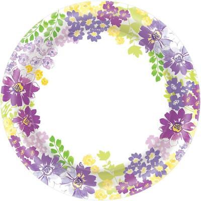 Paper Party Banquet Plates - Blooming Florals Spring Flower Garden Theme Party Bulk 10