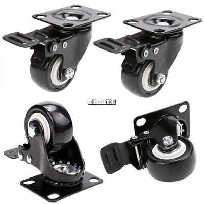 Heavy Duty 4 Swivel Plate Casters Set With 4 Polyurethane Wheels All Rear Brake