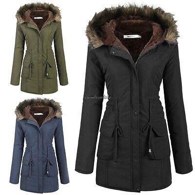 Womens Jacket Slim Winter Parka Outwear Coats Warm Long Coat Fur Collar Hooded