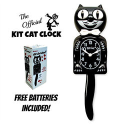 CLASSIC BLACK KIT CAT CLOCK 15.5 Free Battery USA MADE Official Kit-Cat Klock