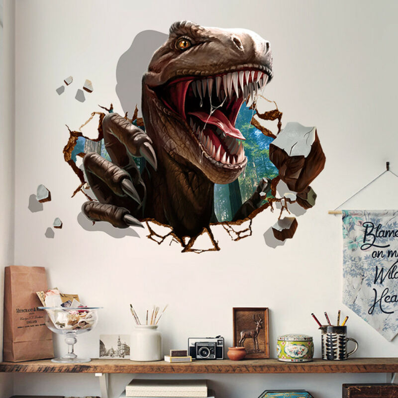 Home Decoration - Creative Dinosaur Raid Wall Sticker Living Room Dormitory Background Home Decor