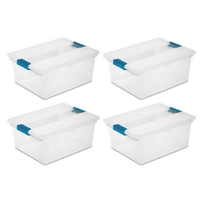 4) Sterilite 19658604 Deep File Clip Box Clear Storage Tote