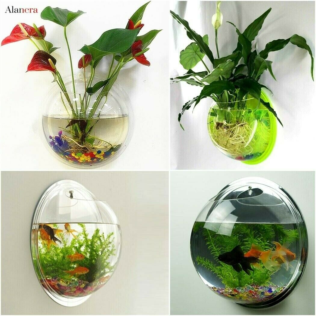 Outgeek Wall Fish Bubble Wall Hanging Bowl Clear Acrylic