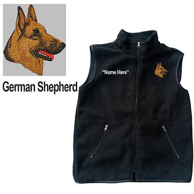 Shepherd Personal (German Shepherd Dog Fleece Vest with Zippers Personal Name Stitched Monogrammed)