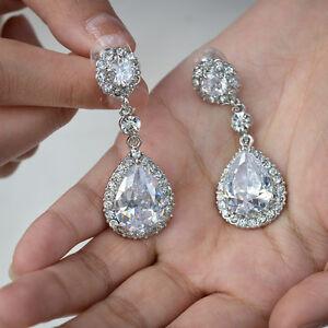 Wedding-Bridal-Teardrop-Dangle-Earrings-Pierced-Clear-Cubic-Zirconia-Bridesmaid