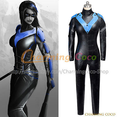 Batman: Arkham City Nightwing Cosplay Costume Uniform Jumpsuit Halloween Party  (Party City Halloween Costumes For Womens)