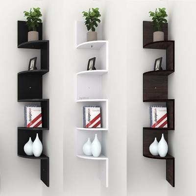 Corner Shelf 5 Tier Wall Mount Unit Home Floating Storage Zig Zag Shelves Black