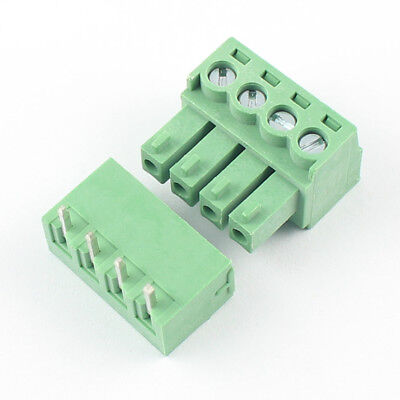 20pcs 3.81mm Pitch 4 Pin Right Angle Screw Terminal Block Pluggable Connector