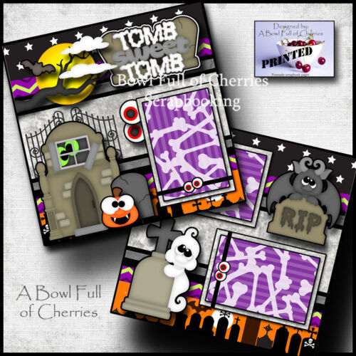 HALLOWEEN ~ 2 premade pages paper piecing printed layout 12X12 ~ BY CHERRY #0035