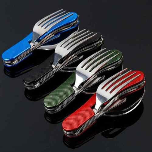 4 in 1 Outdoor Tableware (Fork/Spoon/Knife/Bottle Opener) Camping Utensils