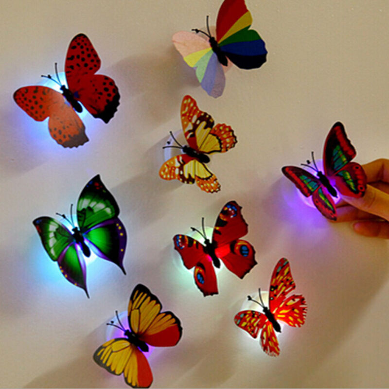 Home Decoration - 12PCS Glowing 3D Butterfly LED Wall Sticker Light Art Decal Lamp Home Room Decor