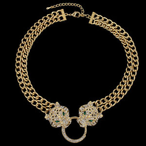 Leopard Panther Head Chain Necklace Animal Austrian Crystal Gold Plated Women