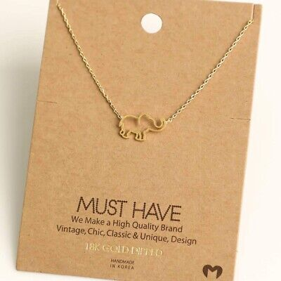 NEW 18k Gold Dipped Cut Out Elephant Pendant - BNWT - Perfect...