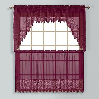 Valerie Macrame Kitchen Curtain   Burgundy   Tiers  Swags  Valances   New