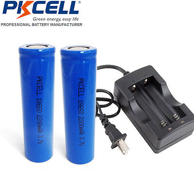2pcs 18650 Rechargeable Li-ion Vape Battery Flat Top with 18650 Charger W/O PCB