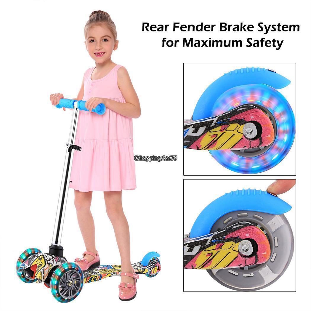 3 LED Wheel Kick Kids Child Toddlers Scooter Adjustable Heig