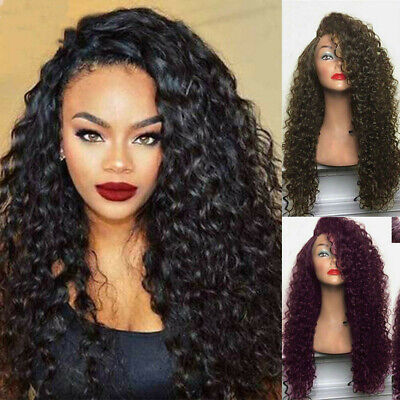 Damen Lockige Perücke Langhaarperücke Afro Lange Gewellt Haar Volle Perücken Wig