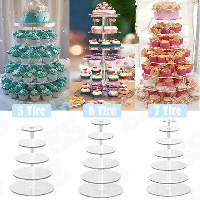 5-7 Tier Round Cake Stand Acrylic Wedding Birthday Display Dessert Cupcake Tower