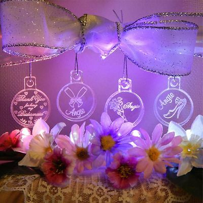 PERFECT Bridesmaid Gift Mini Ornaments w Name Laser Etched Acrylic Favors Set 4 ()
