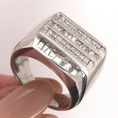 2.60ct Tapered Baguette And Princess Cut Diamond Men's Band  Princess Cut Tapered Baguettes