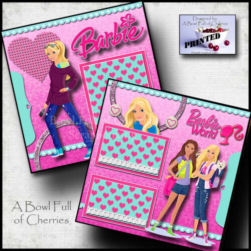 BARBIE doll girl ~ 2 premade scrapbook pages paper printed layout CHERRY #0196