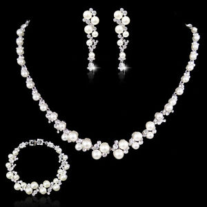 Bridal Ivory Pearl Rhinestone Crystal Bridesmaid Necklace Earring Bracelet Set