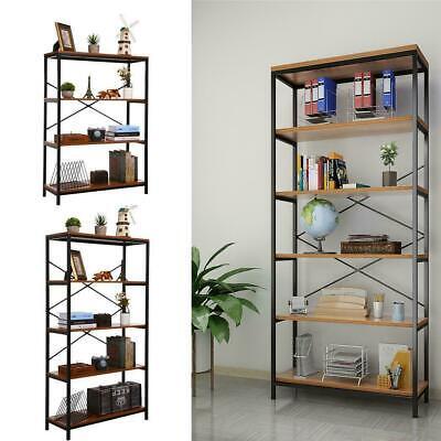Bookshelf 3-5-Tier Etagere Bookcase Wood &Metal Open Shelving Vintage Industrial