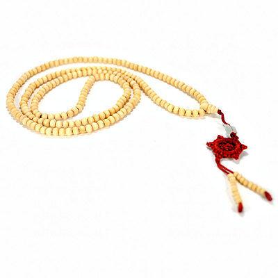WHITE SANDALWOOD MALA Prayer Bead 6mm Natural Necklace NEW Wrap Bracelet Stretch