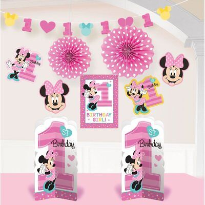 1st Birthday Minnie Mouse (1st Birthday Minnie Mouse Room Decorating Kit 10 piece Party Supplies)
