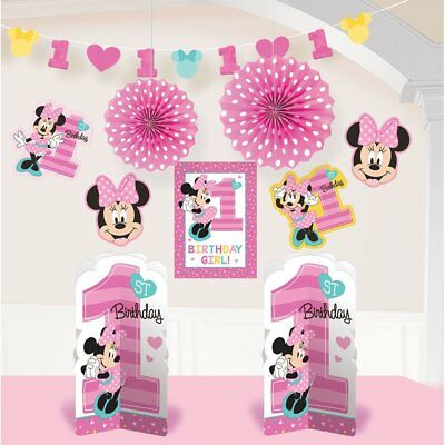 1st Birthday Minnie Mouse Room Decorating Kit 10 piece Party Supplies  (Minnie Mouse Birthday Decorations)