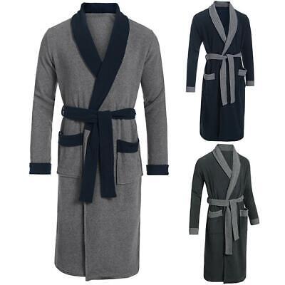 Men Patchwork Fleece Sleepwear Wrap Robe Bathrobe with Belt Long Sleeve H1PS 02